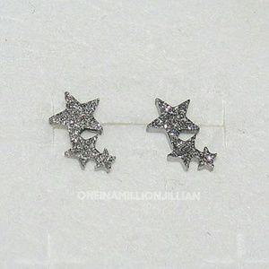 Stainless Steel Triple Star Stud Earrings